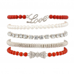 Red Love Pave Bow Faux Pearl Beaded Stretch Arm Candy BFF Bracelet Set