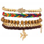 Dove Bird Hamsa Rainbow Woven Chain Link Arm Candy Bracelet Set
