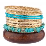 Turquoise Wood Metal Braided Multi Bangle Set