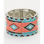 Coral & Turquoise Beaded Tribal Stretch Bracelet