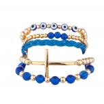 Evil Eye Cross Beaded Woven Stretch Arm Candy Bracelet Set