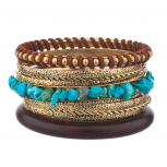 Brown & Gold Turquoise Textured Woven Bangle Set