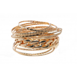 Textured Chain Link Multi Bangle Set