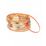 Gold & Coral Bangle Set