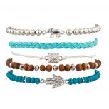 Elephant Pyramid Hamsa Woven Beaded Turquoise Arm Candy Bracelet Set