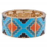 Blue Bright Enamel Boho Aztec Pattern Square Stretch Bracelet