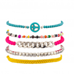 Turquoise Peace Sign Beaded Rainbow Chain Link Pink Arm Candy Bracelet Set