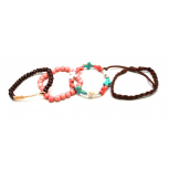 Pink, Teal Brown Cross Bead Arrow Arm Candy Bracelets(4 PCS)