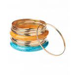 Gold Marble Stone Bangle Set