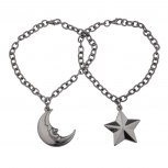 Star Moon BFF Best Friends Forever Gunmetal Necklace Set Man In The Moon (2 PC)