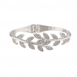 Pave Crystal Leaf Branch Tree of Life Hinge Bracelet.