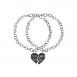 Gunmetal Partners in Crime BFF Best Friends Heart Charm Bracelets (2 PC)