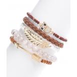 Brown & Crystal Pave Owl Metal Leaf Arrow Stretch Bracelet Set