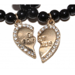 Gold Best Friends BFF Black Beaded Stretch Heart Charm Bracelet Set (2 PC)