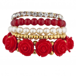Goldtone Red Pearl Flower Beaded Rhinestone Stretch Bracelet 5PC