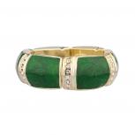 Green Glitter Pave Metal Stretch Holiday Bracelet