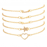 Luck Love Peace Star Cutout Heart BFF Best Friends Arm Candy Bracelet Set