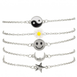Yin Yang Sunflower Floral Happy Face Smile Crescent Moon Star BFF Best Friends Arm Candy Bracelet Set.