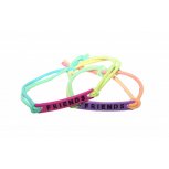 Best Friends BFF Neon Turquoise Yellow Pink Purple Peach Stretch Bracelets (2 PC)