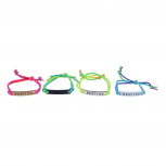 Rainbow Corded Besties Best Friends Forever ID Bracelet Set 4PC