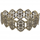 Burnish Gold Tone Boho Casted Filigree Pattern Stretch Bracelet
