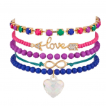 Love Arrow Heart Infinity Pave Rainbow Beaded Arm Candy Friendship Set