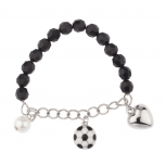 Kids Girls Heart Soccer Ball Sporty Stretch Bracelet