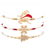 Navajo Holiday Multi Bracelet Set (3pc) Reindeer Snowflake and Christmad Tree Charms