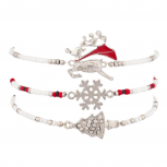 Navajo Holiday Multi Bracelet Set (3pc) Reindeer Snowflake and Christmad Tree Charms.