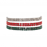 Christmas Star Studded Embellisted Stretch Fit Bracelet Clear Red and Green