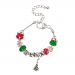 XMAS Holiday Bracelet with Snowflake and Christmas Tree Charms