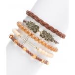 Brown & Crystal Owl Pave Cross Stretch Bracelet Set