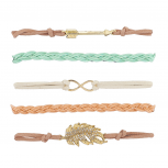 Gold Tone Pastel Boho Arrow Infinity Arm Candy Bracelet Set 5PC