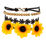Sunflower Floral Fabric Beaded Infinity Arm Candy Flower Bracelet Set