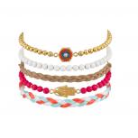 Hamsa Evil Eye Woven Bead Pave Arm Candy Bracelet Set