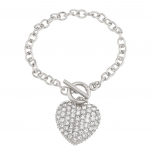 Pave Heart Toggle Chain Link Bracelet.