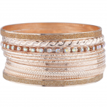 Rose Gold Tone Ab Stone Sticker Glitter Bangle Bracelet Set 11PC