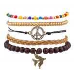Pave Peace Sign Love Dove Bird Beaded Woen Rainbow Arm Candy Bracelet Set