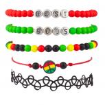 Best Buds Weed Marijuana 420 Pot Rasta Peace Love Unity Arm Candy Bracelet Set