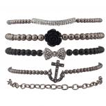 Pave Anchor Bow Rose Flower Bar Arm Candy Bracelet Set