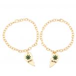 Best Buds Heart 420 Weed Marijuana BFF Best Friends Forever Bracelet Set (2 PC)