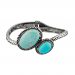 Turquoise Textured Tribal Hinge Bracelet.