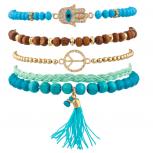 Turquoise Pave Hamsa Evil Eye Peace Sign Love Tassel Arm Candy Bracelet Set