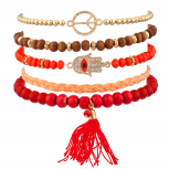 Orange Red Pave Hamsa Evil Eye Peace Sign Love Tassel Arm Candy Bracelet Set
