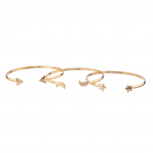 Galaxy Arrow Moon Star Celestial Cuff Bracelet Set