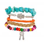 Pave Hamsa Dreamcatcher Rainbow Bead Woven Turquoise Stretch Arm Candy Bracelet Set