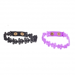 Black Lilac Daisy Flower Rubber Snap Closure Bracelet Set 2PC