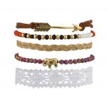 Elephant Arrow Tribal Fabric Woven Beaded Arm Candy Bracelet Set