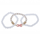 Gold Tone White Beaded Pink Breast Cancer Awareness Bracelet Set