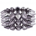 Hematite Tone Multi Row Edgy Gothic Spike Stretch Bracelet